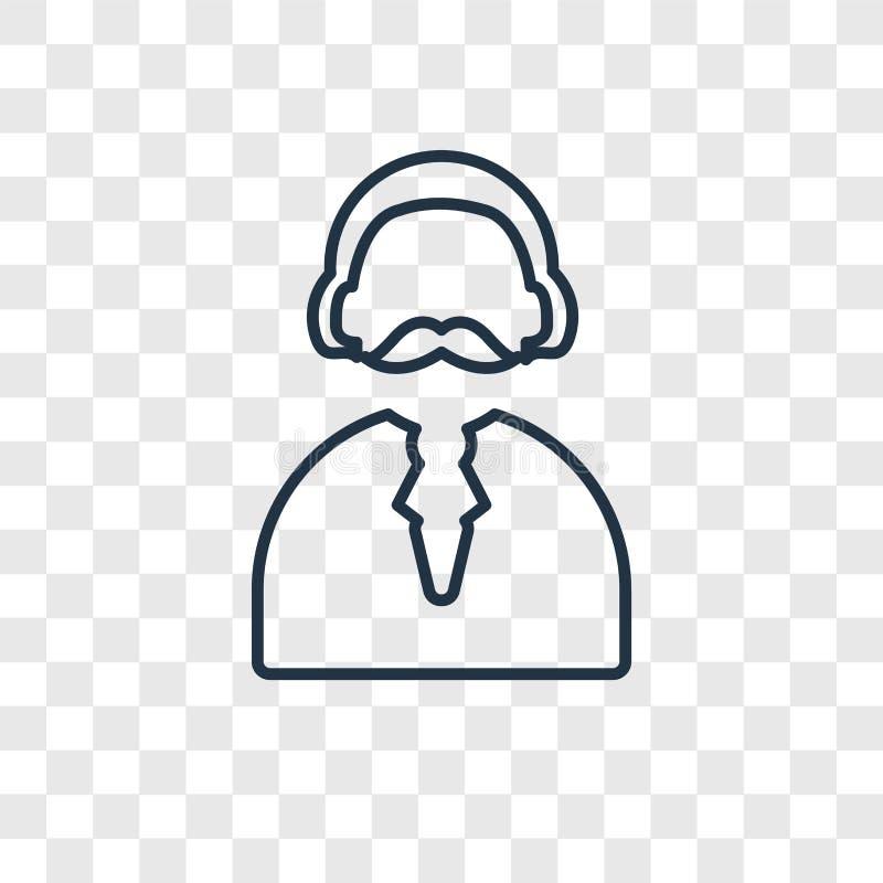 Icône linéaire de vecteur de concept d'homme d'isolement sur le backgroun transparent illustration de vecteur