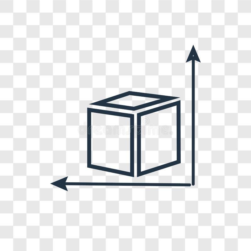 Icône linéaire de vecteur de concept de dimension d'isolement sur le CCB transparent illustration stock