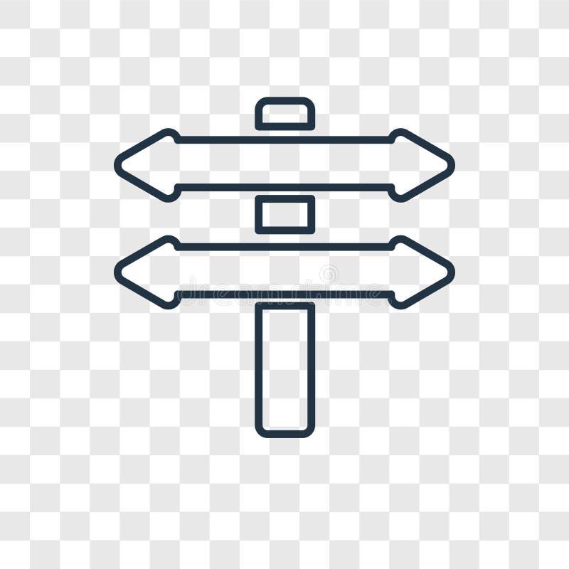 Icône linéaire de vecteur de concept de directions d'isolement sur le Ba transparent illustration libre de droits