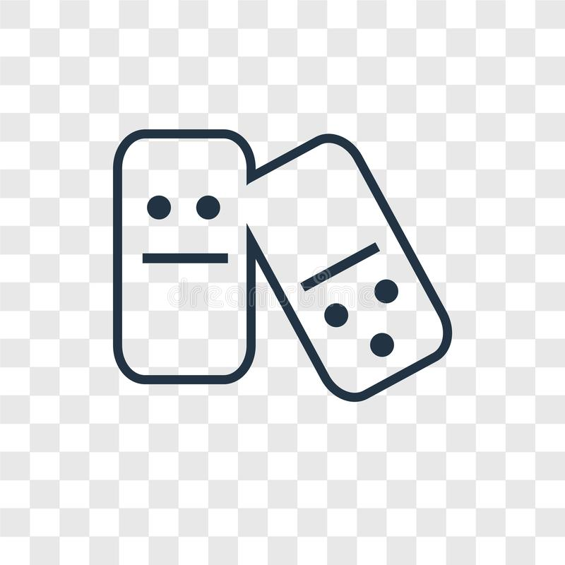 Icône linéaire de vecteur de concept de domino d'isolement sur le backgr transparent illustration de vecteur