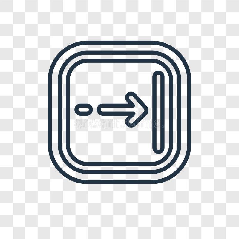 Icône linéaire de vecteur de concept de flèche droite d'isolement sur b transparent illustration stock
