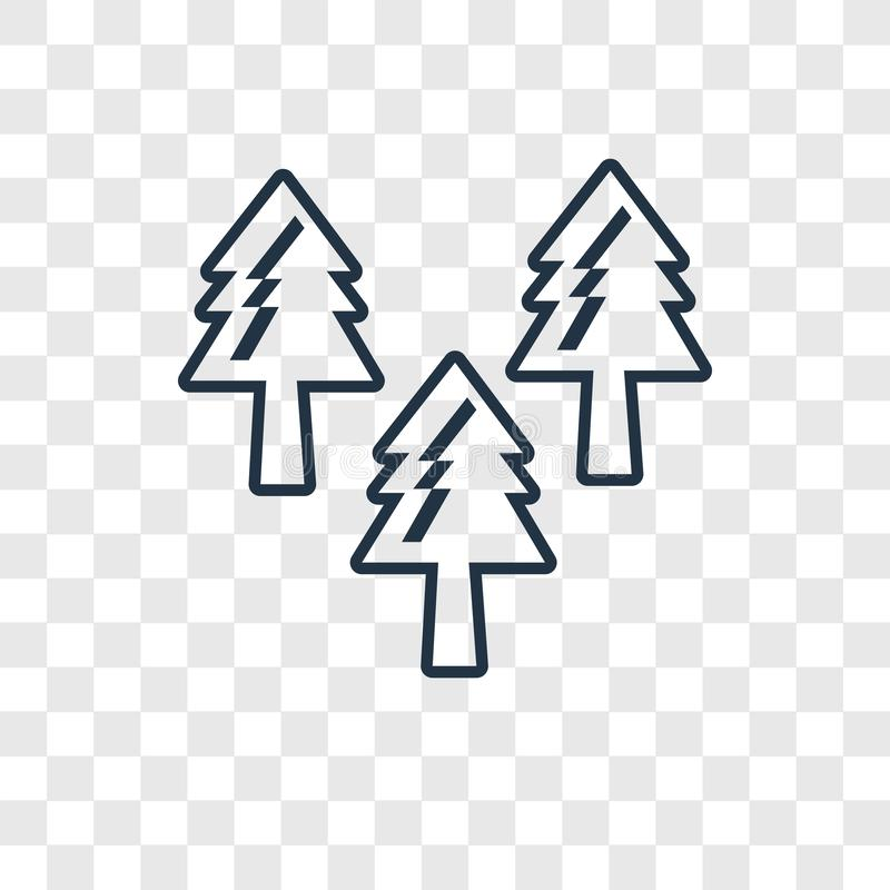 Icône linéaire de vecteur de concept de forêt d'isolement sur le backgr transparent illustration de vecteur