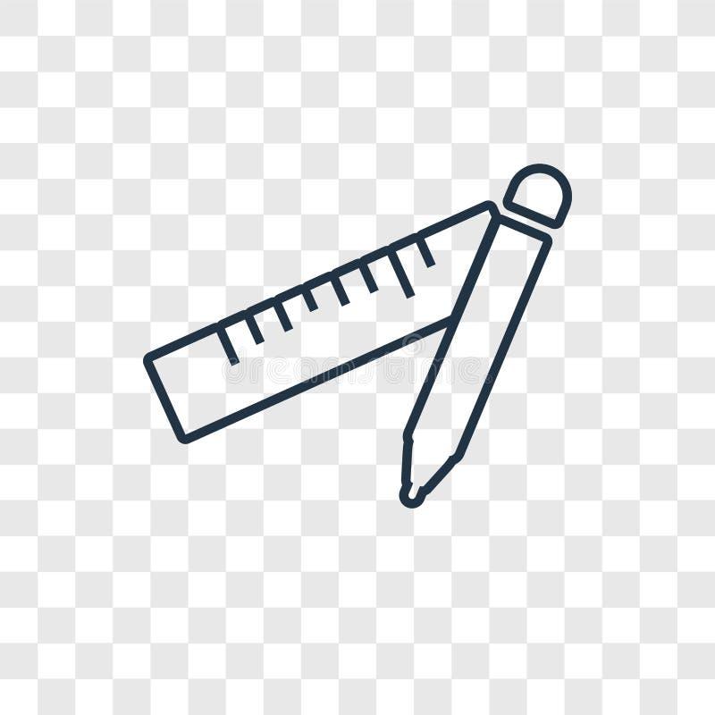 Icône linéaire de vecteur de concept de fournitures scolaires sur le transpare illustration libre de droits