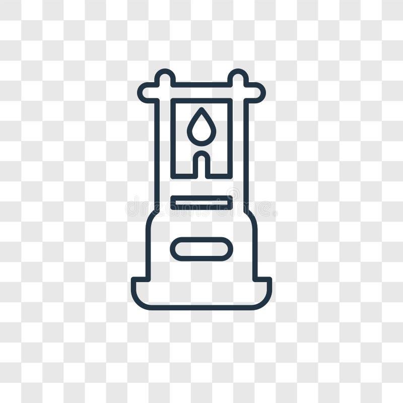 Icône linéaire de vecteur de concept de gaz d'isolement sur le backgroun transparent illustration de vecteur