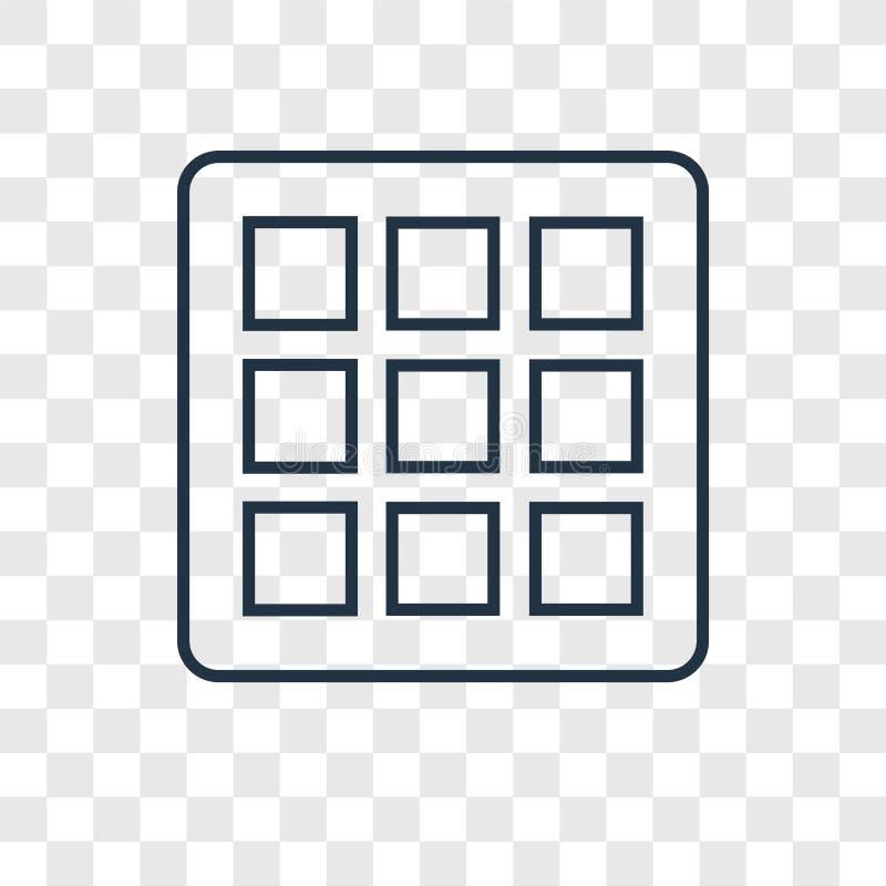 Icône linéaire de vecteur de concept de grilles d'isolement sur le backgro transparent illustration de vecteur
