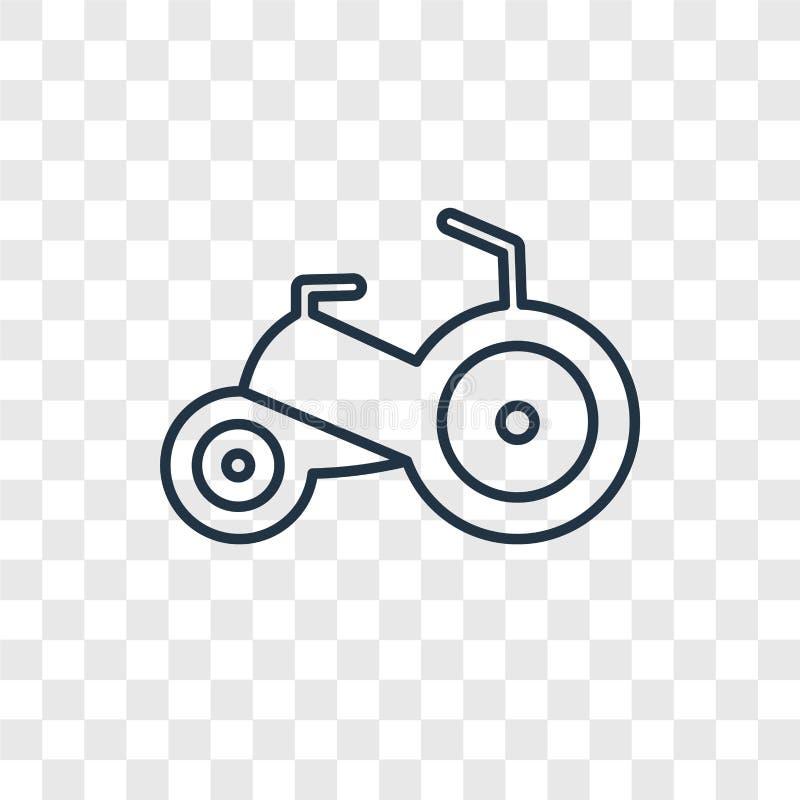 Icône linéaire de vecteur de concept de jouet de tricycle d'isolement sur transparent illustration de vecteur