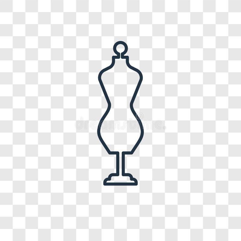 Icône linéaire de vecteur de concept de mannequin de couture d'isolement sur le transpa illustration stock