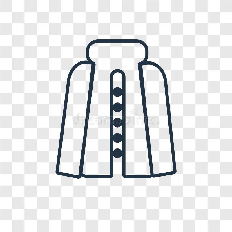 Icône linéaire de vecteur de concept de manteau d'isolement sur le backgro transparent illustration libre de droits