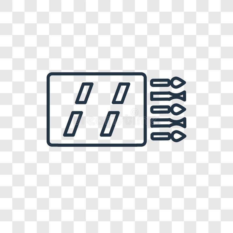 Icône linéaire de vecteur de concept de matchs d'isolement sur le backg transparent illustration libre de droits