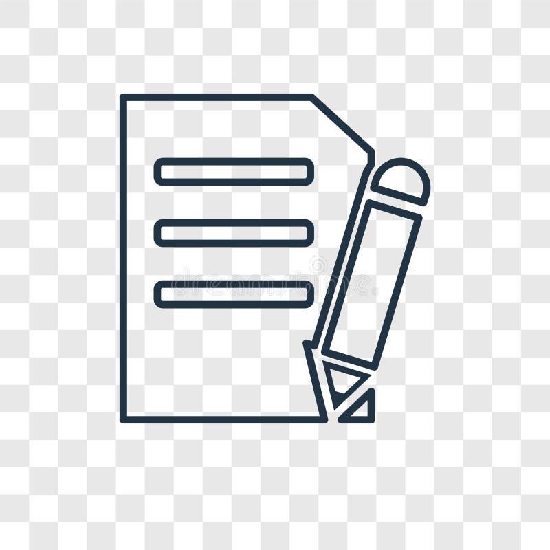 Icône linéaire de vecteur de concept de nouveau document sur transparent illustration stock