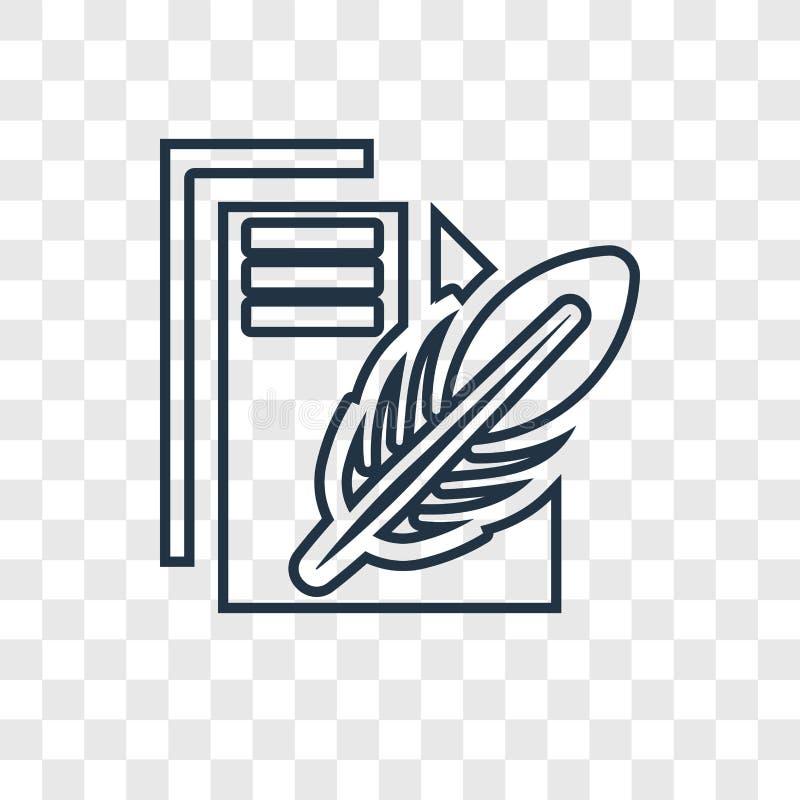 Icône linéaire de vecteur de concept de papier et de plume sur le transpa illustration stock