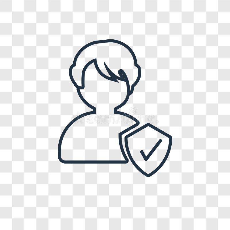 Icône linéaire de vecteur de concept de personne d'isolement sur le backgr transparent illustration stock