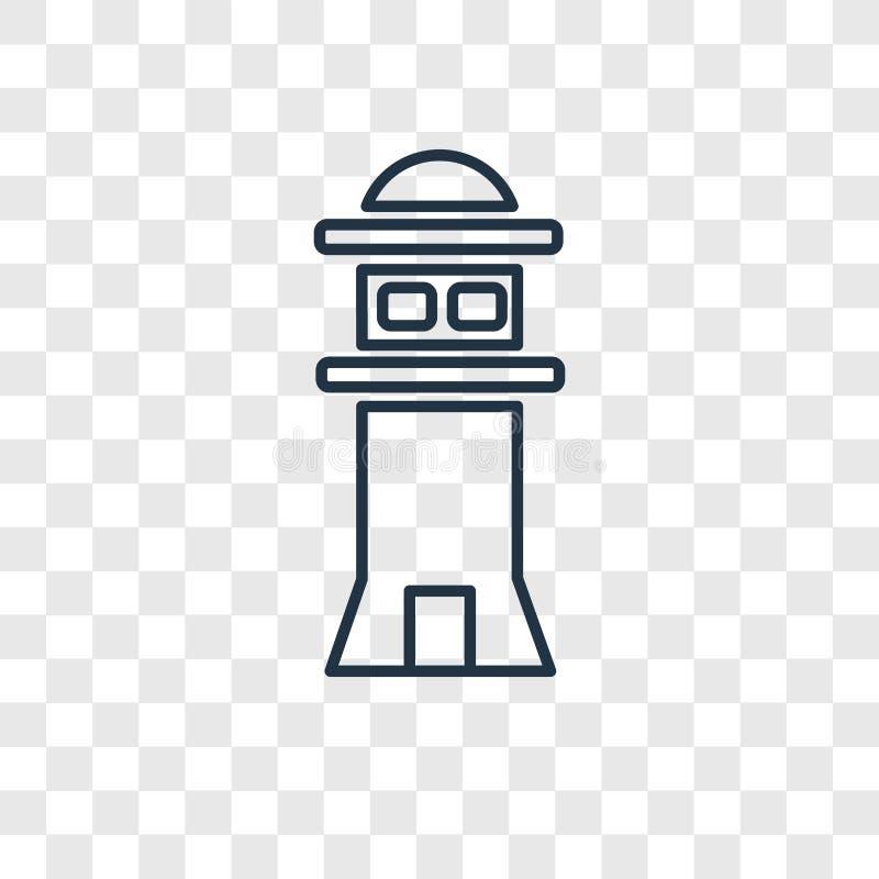 Icône linéaire de vecteur de concept de phare d'isolement sur le Ba transparent illustration libre de droits