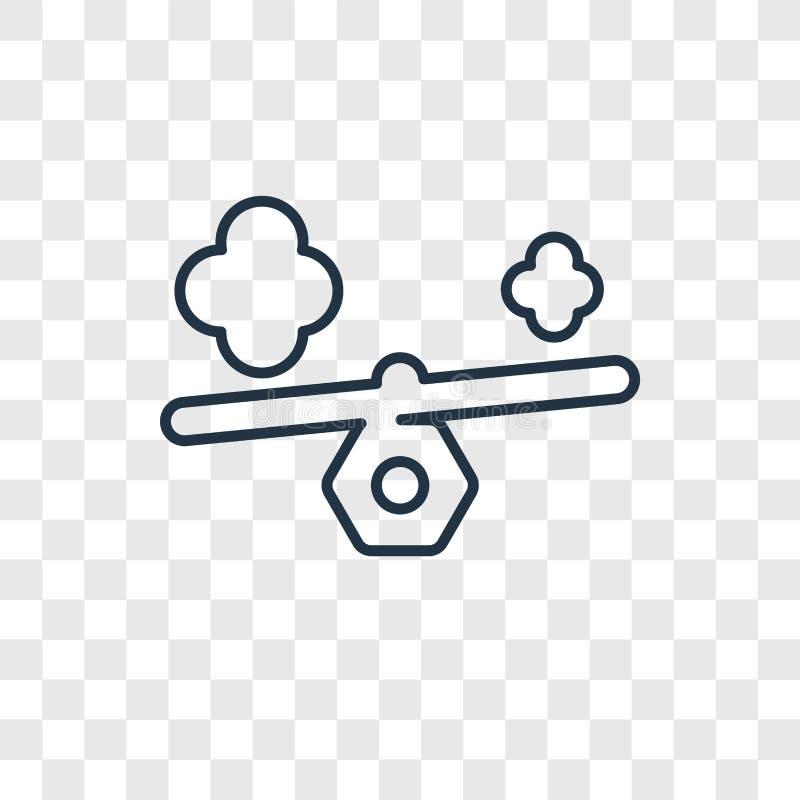 Icône linéaire de vecteur de concept de poids d'isolement sur le backgr transparent illustration libre de droits
