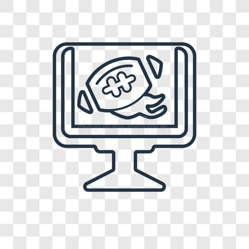 Icône linéaire de vecteur de concept de programme du football TV d'isolement sur le transport illustration de vecteur