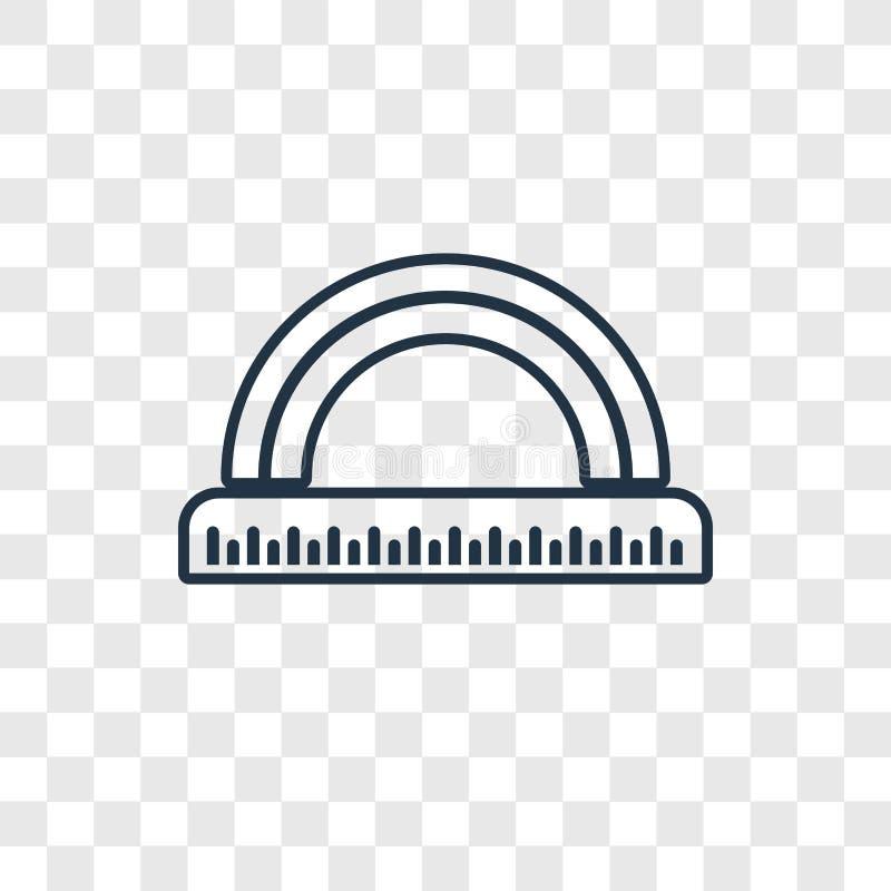 Icône linéaire de vecteur de concept de règle de cercle sur transparent illustration de vecteur