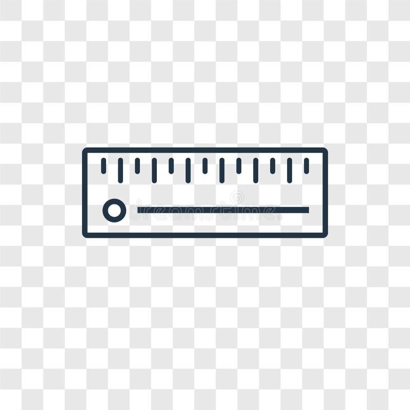 Icône linéaire de vecteur de concept de règle d'isolement sur le backgro transparent illustration stock