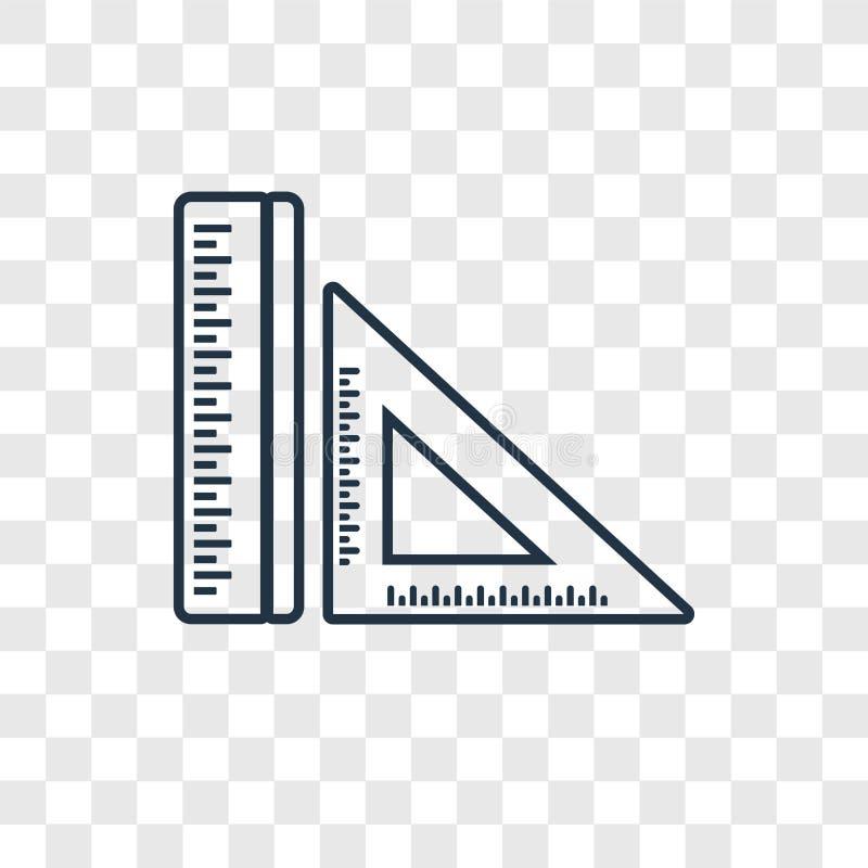 Icône linéaire de vecteur de concept de règle sur le backgro transparent illustration libre de droits