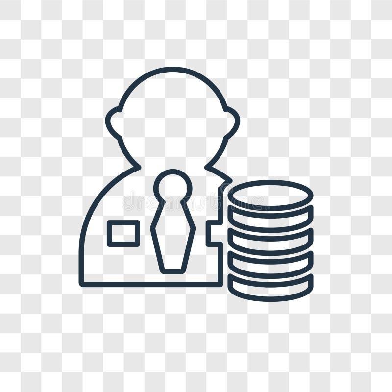 Icône linéaire de vecteur de concept de salaire d'isolement sur le backgr transparent illustration libre de droits