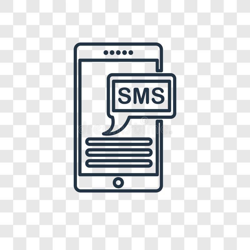 Icône linéaire de vecteur de concept de Sms sur le backgroun transparent illustration stock