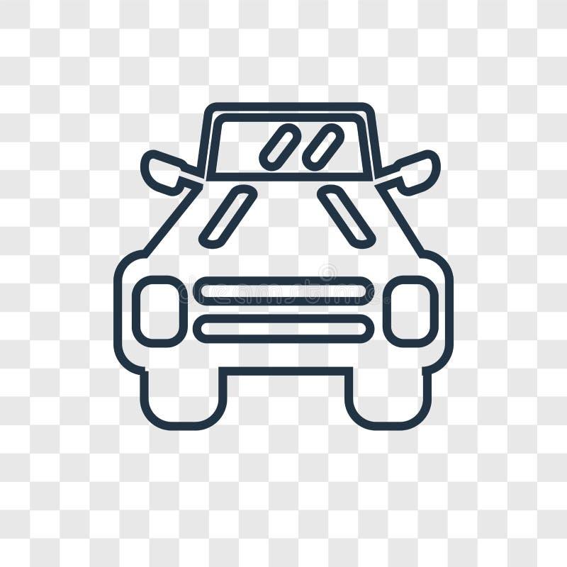 Icône linéaire de vecteur de concept de véhicule militaire d'isolement sur transpar illustration stock