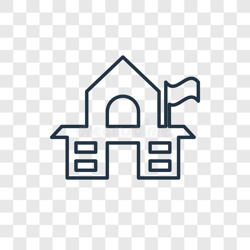 Icône linéaire de vecteur de concept de vieille école sur le Ba transparent illustration stock