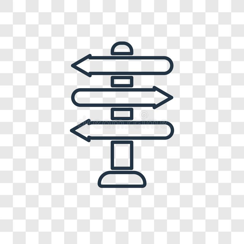 Icône linéaire de vecteur directionnel d'isolement sur le backgroun transparent illustration libre de droits