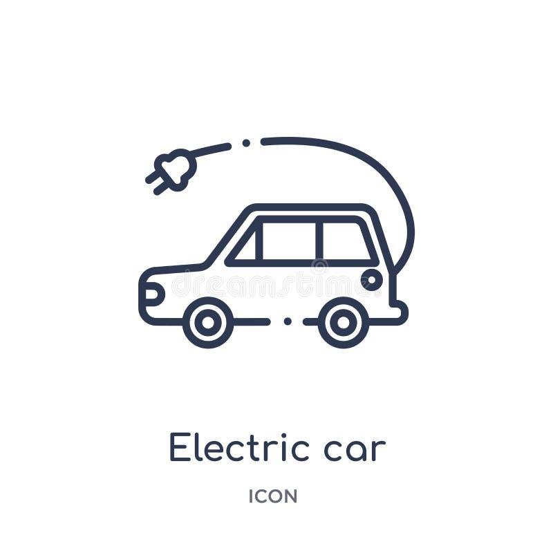 Icône linéaire de voiture électrique de la future collection d'ensemble de technologie Ligne mince icône de voiture électrique d' illustration libre de droits