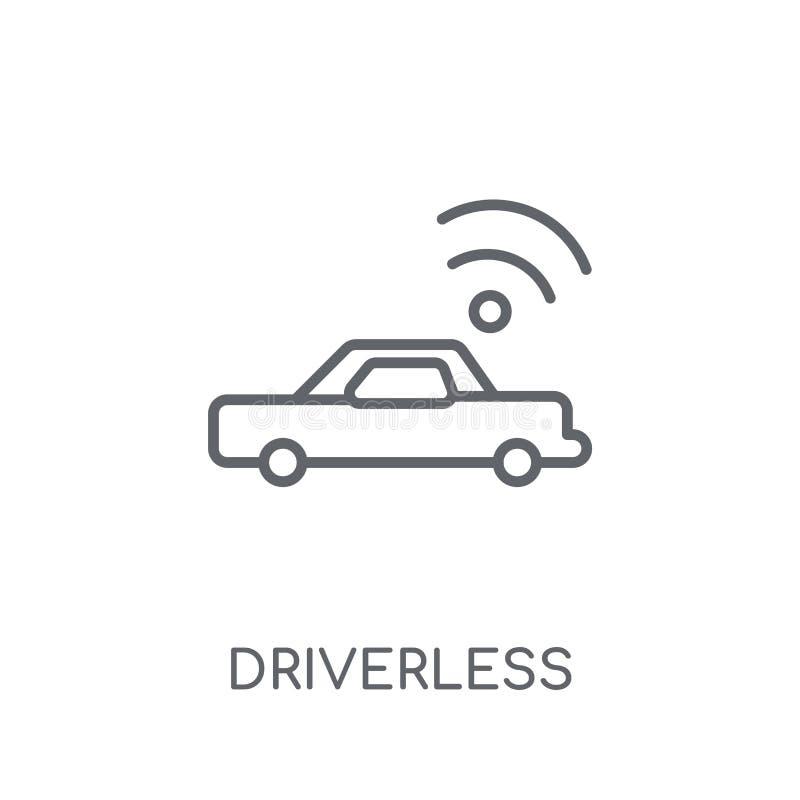 Icône linéaire de voiture autonome Driverless Contour moderne Driverless illustration libre de droits