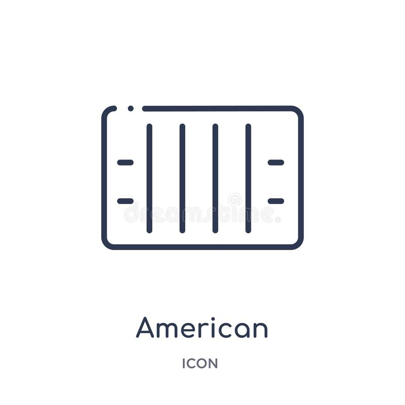 Icône linéaire de vue supérieure de champ de football américain de collection d'ensemble de football américain Ligne mince vue su illustration libre de droits