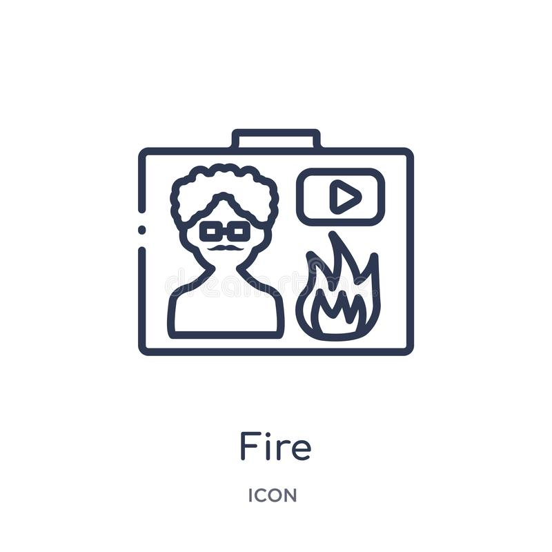 Icône linéaire du feu de collection d'ensemble de Blogger et d'influencer Ligne mince vecteur du feu d'isolement sur le fond blan illustration de vecteur
