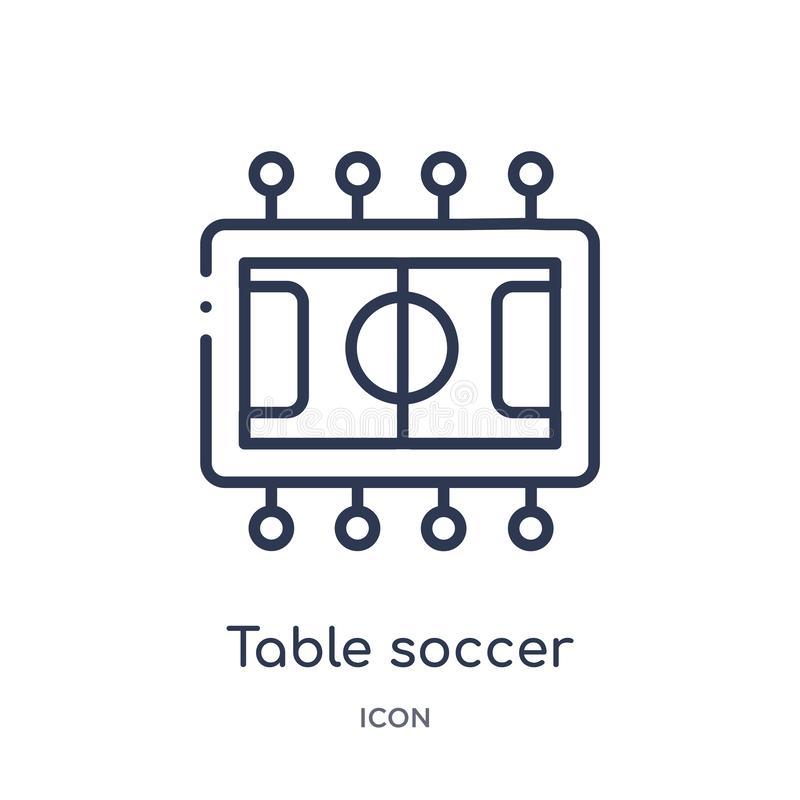 Icône linéaire du football de table de collection d'ensemble de divertissement Ligne mince icône du football de table d'isolement illustration stock