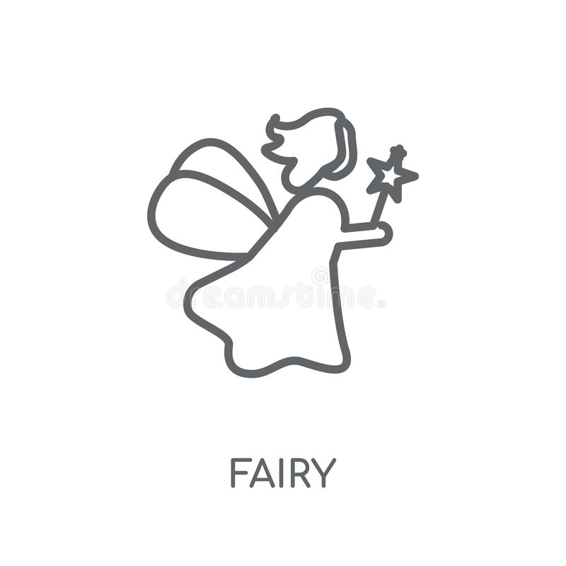 Icône linéaire féerique Concept féerique de logo d'ensemble moderne sur le Ba blanc illustration de vecteur