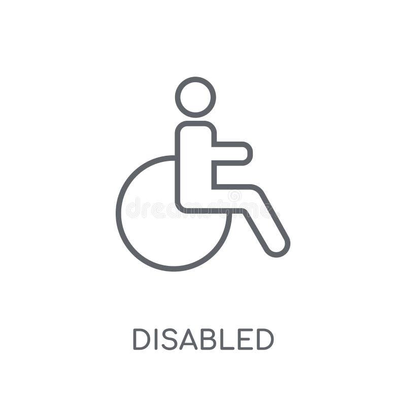 Icône linéaire handicapée Concept handicapé de logo d'ensemble moderne sur le wh illustration de vecteur