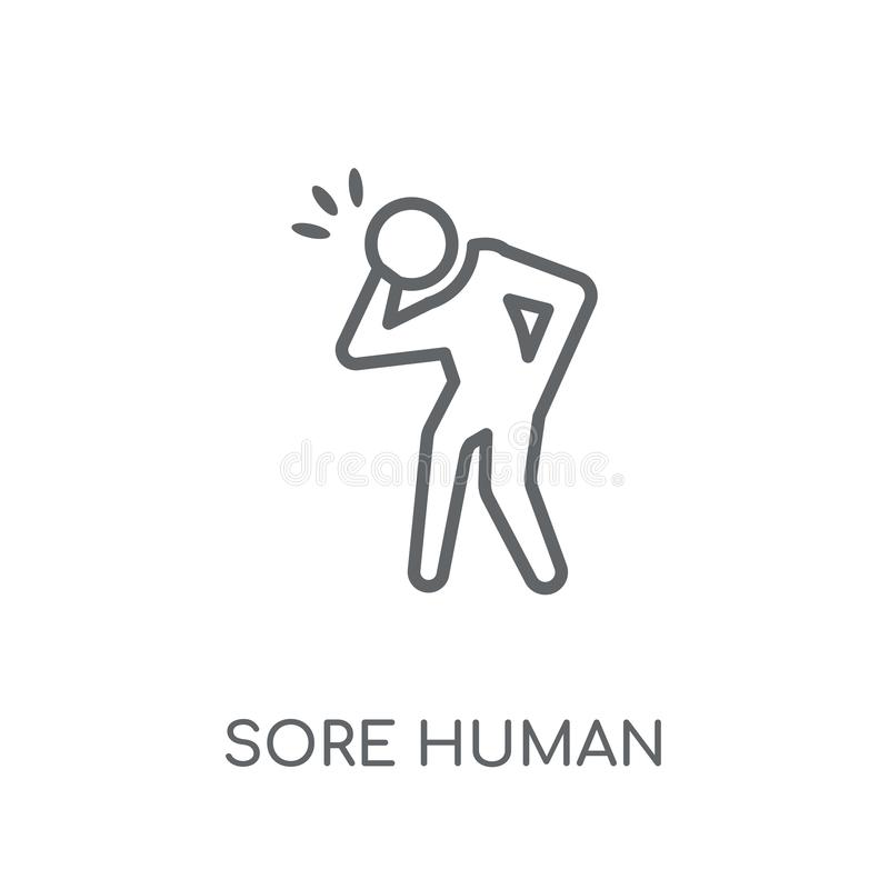 icône linéaire humaine endolorie Concept humain endolori o de logo d'ensemble moderne illustration stock