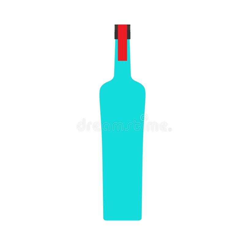 Icône liquide de symbole de vecteur de plan rapproché d'alcool de bar de bouteille de vodka Magasin de boissons de produit en ver illustration de vecteur