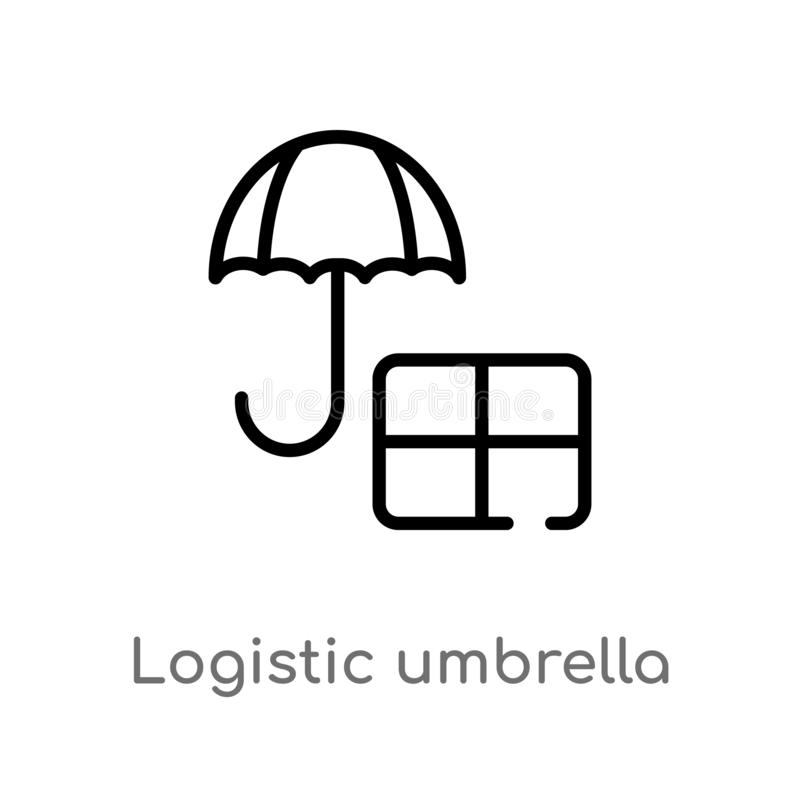 icône logistique de vecteur de parapluie d'ensemble ligne simple noire d'isolement illustration d'élément de concept de la livrai illustration de vecteur