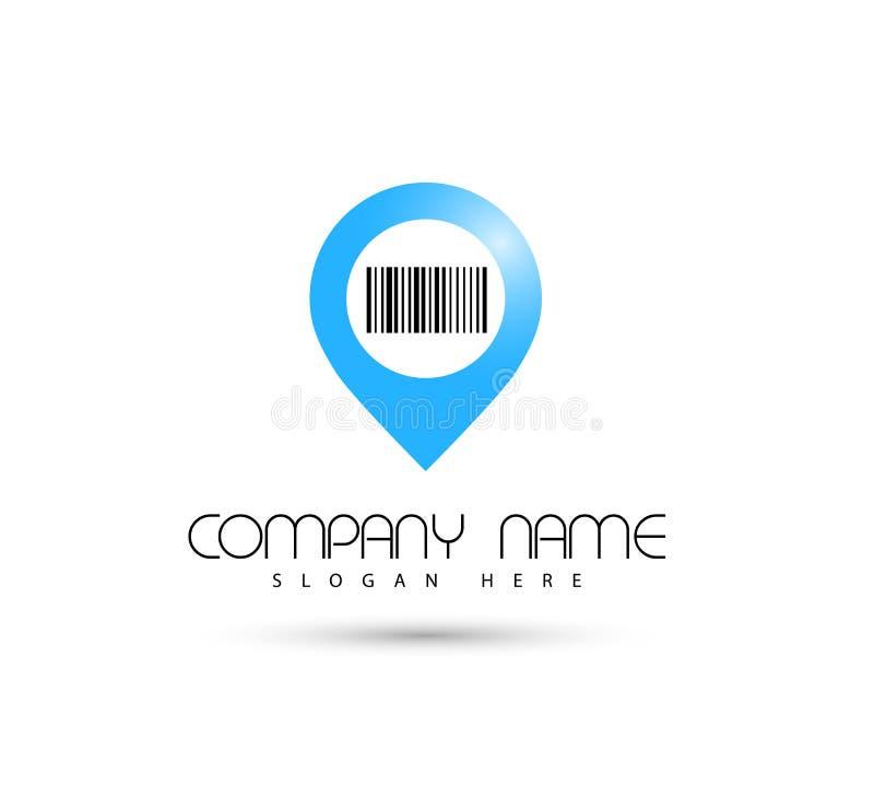 Icône Logo Design Element de code barres de vecteur de Pin Location illustration de vecteur