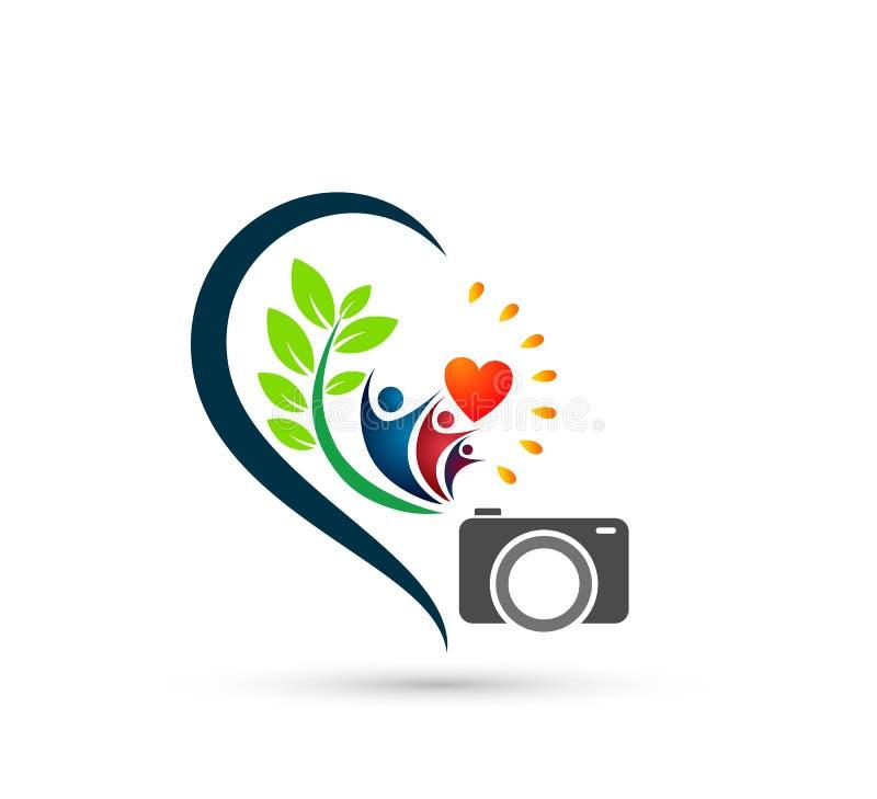 Icône Logo Design Element de soin de personnes de caméra La famille aident ensemble le logo illustration de vecteur