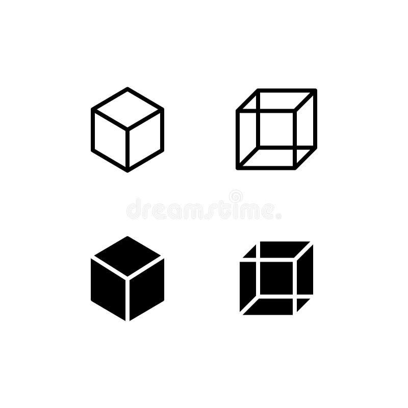 Icône Logo Vector Symbol de cube Icône carrée d'isolement sur le fond blanc illustration libre de droits