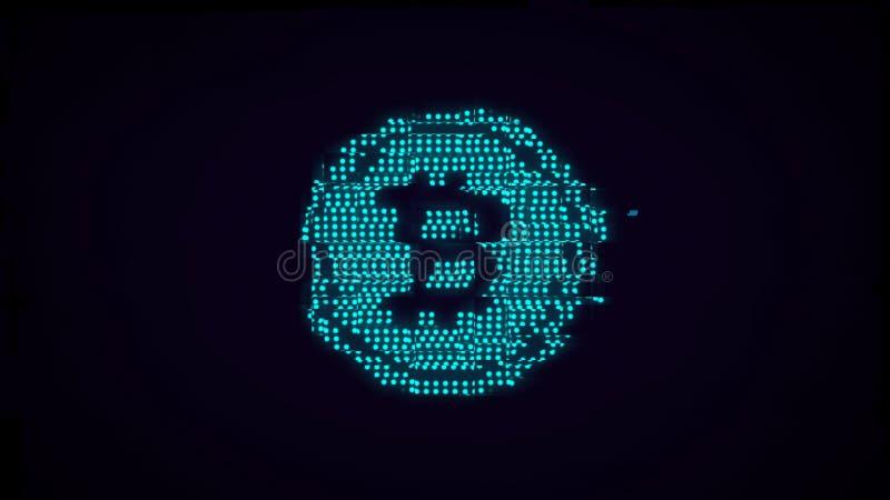 Icône lumineuse de bitcoin avec l'effet de problème illustration stock