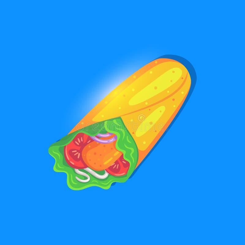 Icône lumineuse de petit pain de César dans le style de bande dessinée Nutrition d'aliments de pr?paration rapide illustration de vecteur