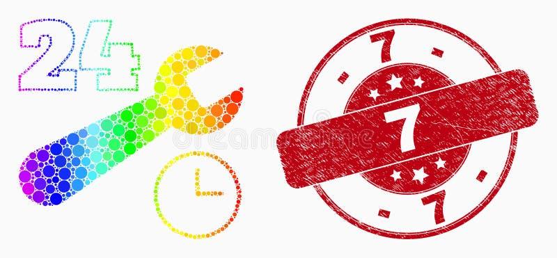 Icône lumineuse de service des réparations du pixel 24-7 de vecteur et timbre 7 rayé illustration stock