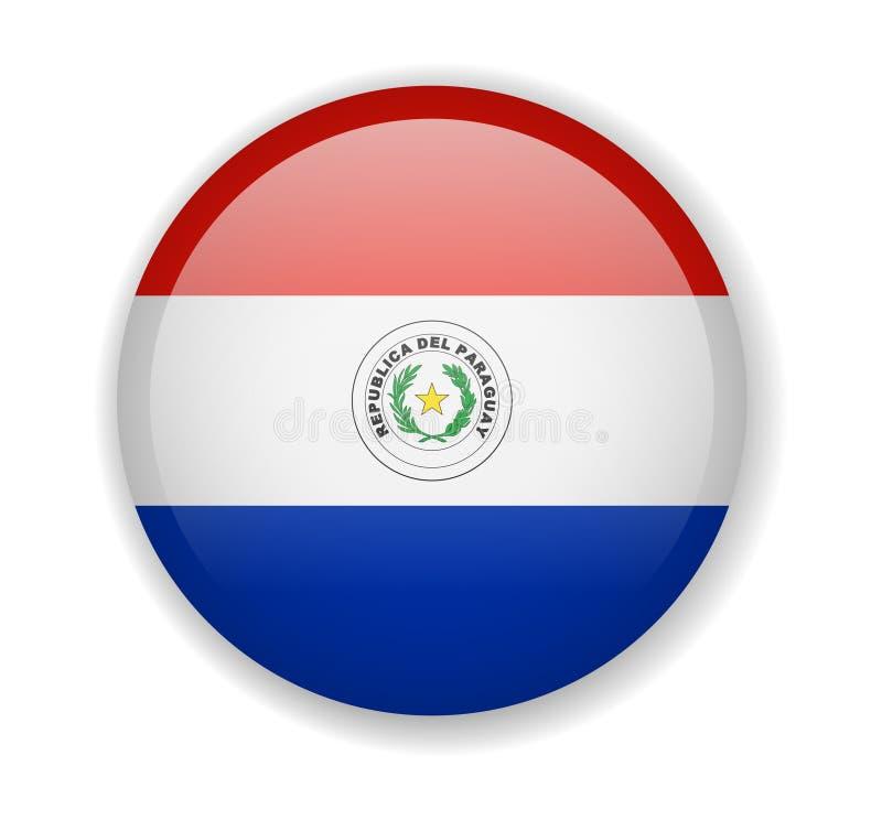 Icône lumineuse ronde de drapeau du Paraguay sur un fond blanc illustration de vecteur