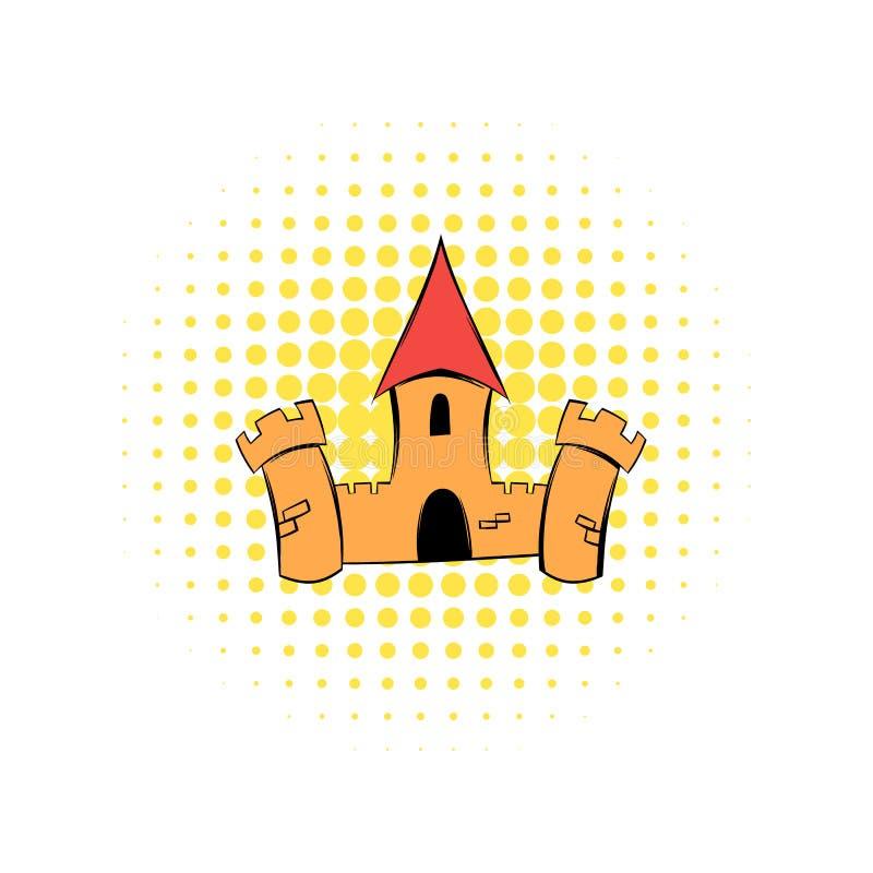 Icône médiévale de bandes dessinées de forteresse de château illustration stock