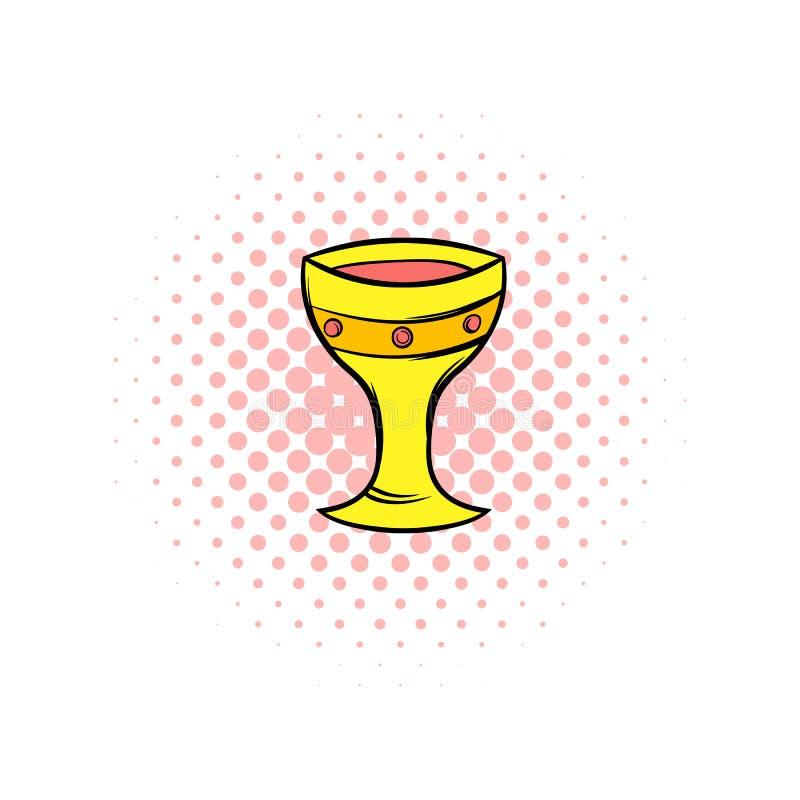 Icône médiévale de bandes dessinées de tasse d'or illustration stock