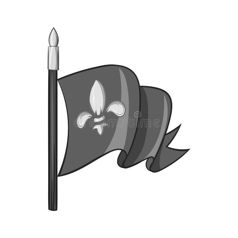 Icône médiévale de drapeau de chevalier, style monochrome noir illustration stock