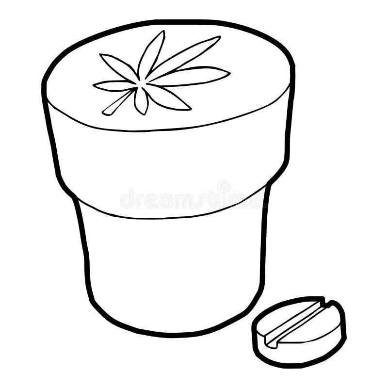 Icône médicale de bouteille et de comprimé de marijuana illustration stock