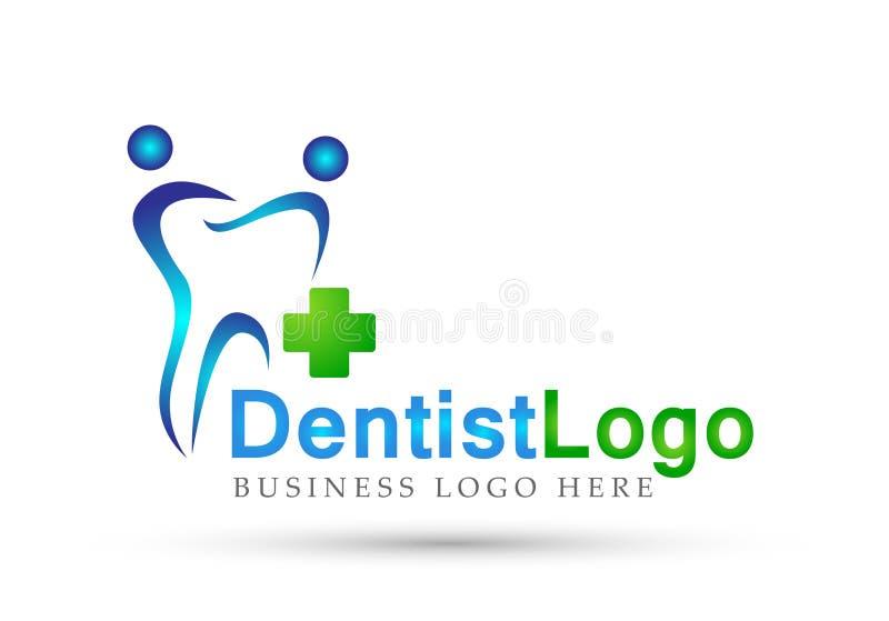 Icône médicale de conception de logo de soins de santé de clinique de soin croisé dentaire de dentiste sur le fond blanc illustration libre de droits
