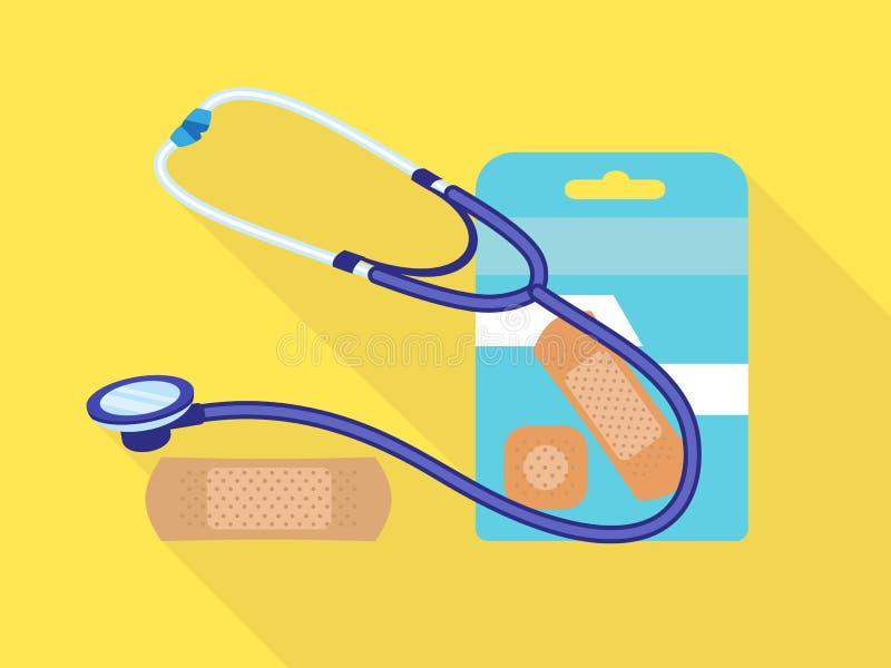 Icône médicale de correction de stéthoscope, style plat illustration stock